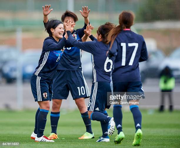 Hikaru Naomoto of Japan celebrates with her teammates after scoring a goal during the international friendly match between Japan Women U23 and Norway...