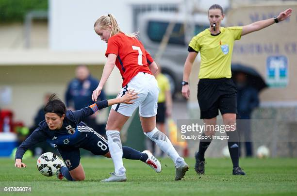 Hikaru Naomoto of Japan competes for the ball with Kartine Winnem Jorgensen of Norway during the international friendly match between Japan Women U23...
