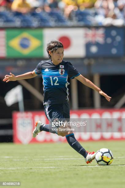 Hikaru Naomoto of Japan during the Tournament of Nations soccer match between Japan and Australia on July 30 2017 at Qualcomm Stadium in San Diego CA
