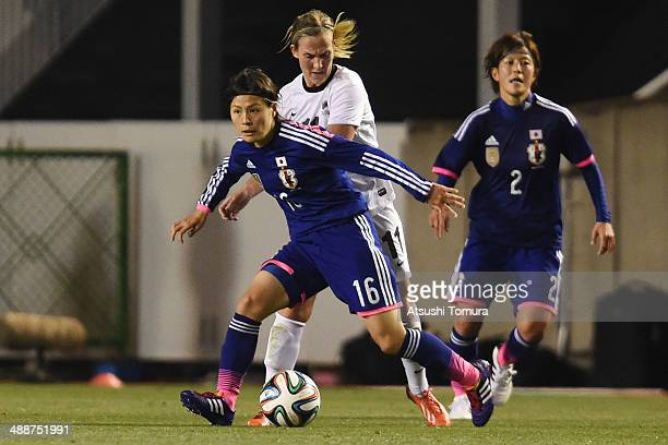Hikaru Naomoto of Japan in action during the women's international friendly match between Japan and New Zealand at Nagai Stadium on May 8 2014 in...