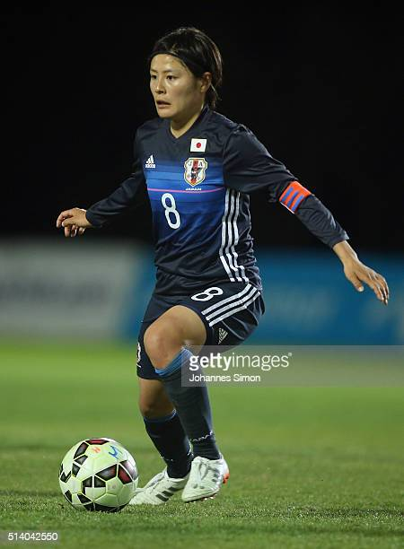 Hikaru Naomoto of Japan in action during the women's U23 international friendly match between WU20 Germany and WU23 Japan on March 6 2016 in La Manga...