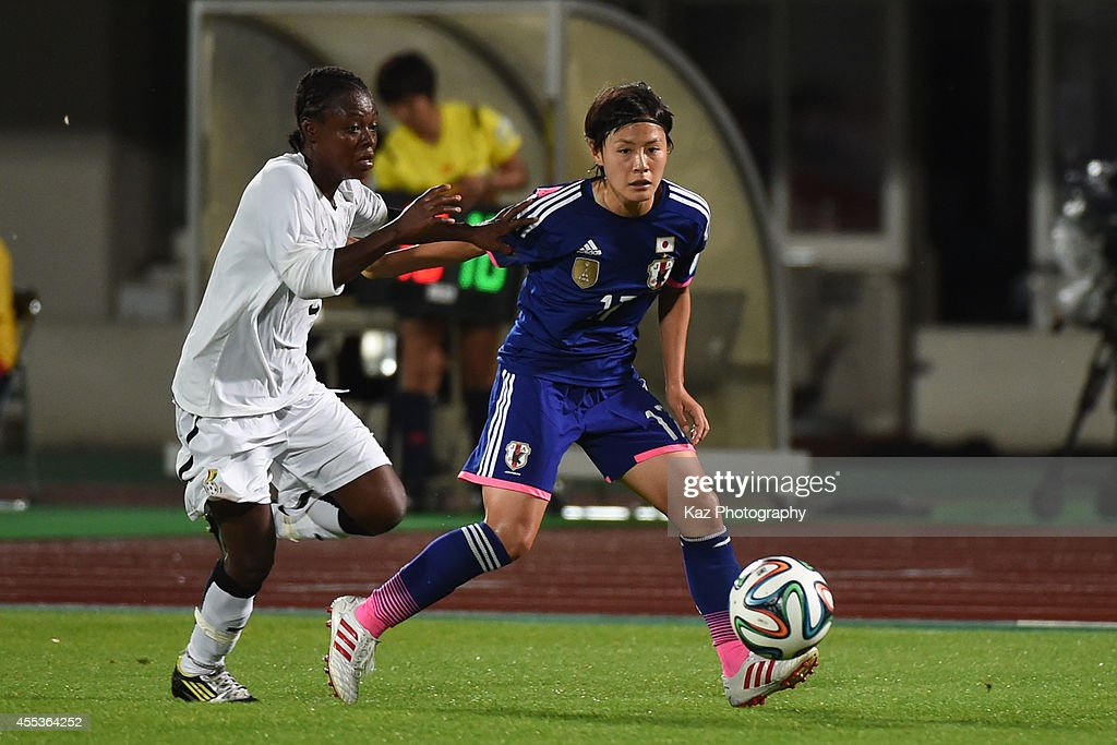Hikaru Naomoto of Japan passes the ball during the women's international friendly match between Japan and Ghana at ND Soft Stadium on September 13...