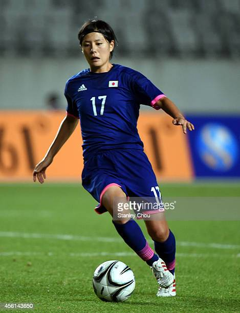 Hikaru Naomoto of Japan runs with the ball during the Football Womens Quarterfinal match between Japan and Hong Kong during day seven of the 2014...