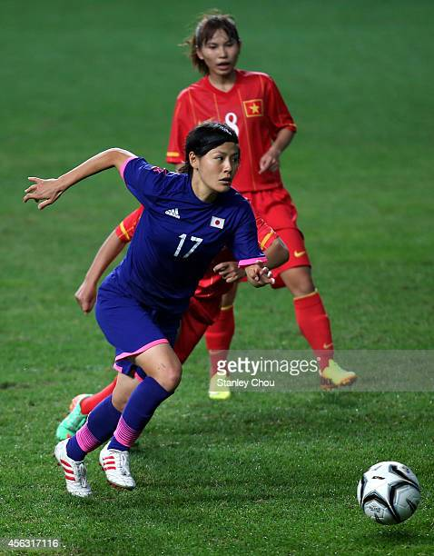 Hikaru Naomoto of Japan runs with the ball during the Women's Football SemiFinal match bewteen Vietnam and Japan during day ten of the 2014 Asian...