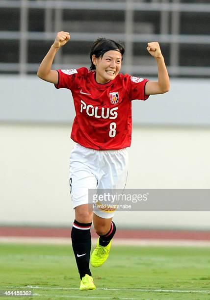 Hikaru Naomoto of Urawa Reds Ladies celebrates her team's first goal by Chika Kato during the Nadeshiko League Exciting Series match between Urawa...