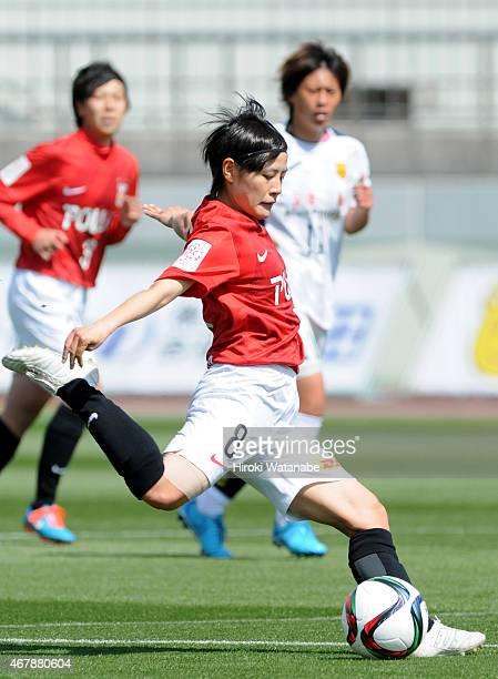 Hikaru Naomoto of Urawa Reds Ladies in action during the Nadeshiko League match between Urawa Red Diamonds and INAC Kobe Leonessa at Urawa Komaba...