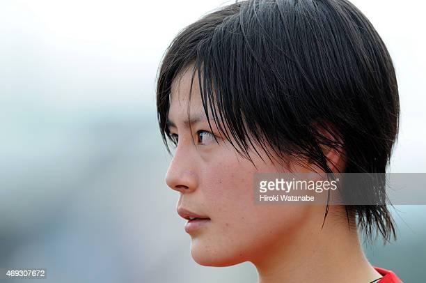 Hikaru Naomoto of Urawa Reds Ladies looks on during the Nadeshiko League match between Urawa Red Diamonds Ladies and AS Elfen Saitama at Urawa Komaba...