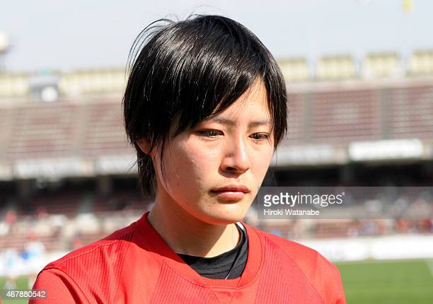 Hikaru Naomoto of Urawa Reds Ladies shows her dejection after her team's 23 defeat in the Nadeshiko League match between Urawa Red Diamonds and INAC...