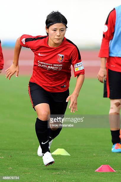 Hikaru Naomoto of Urawa Reds Ladies warms up prior to the Nadeshiko League match between Urawa Red Diamonds Ladies and Okayama Yunogo Belle at Komaba...