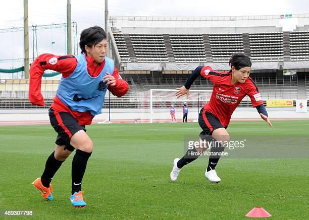 Hikaru Naomoto Urawa Reds Ladies warms up prior to the Nadeshiko League match between Urawa Red Diamonds Ladies and AS Elfen Saitama at Urawa Komaba...