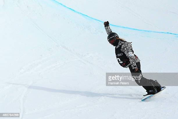Hikaru Oe of Japan competes in the FIS Snowboard World Cup Halfpipe Finals during the Winter Games NZ at Cardrona Alpine Resort on August 30 2015 in...