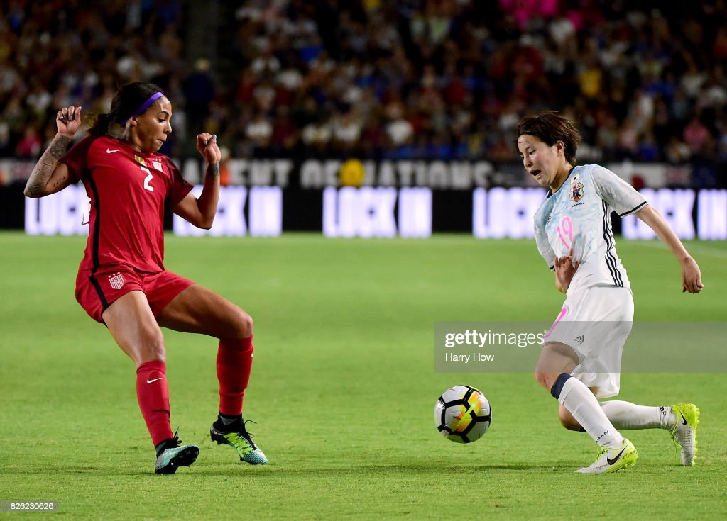Hikaru Oya #19 of Japan attempts to get past Sydney Leroux #2 of the United States during a 3-0 United States win in the 2017 Tournament Of Nations at StubHub Center on August 3, 2017 in Carson, California.