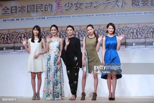 Hikaru Takahashi Ayame Goriki Emi Takei Mayuko Kawakita Miyu Yoshimoto wave to the TV cameras at the press conference for the 15th National Pretty...