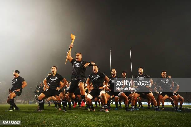 Hikawera Elliot of the Maori All Blacks leads the haka during the match between the New Zealand Maori and the British Irish Lions at Rotorua...