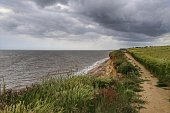 A hike along the cliff tops of Benacre beach in Suffolk, England with a storm approaching in the distance