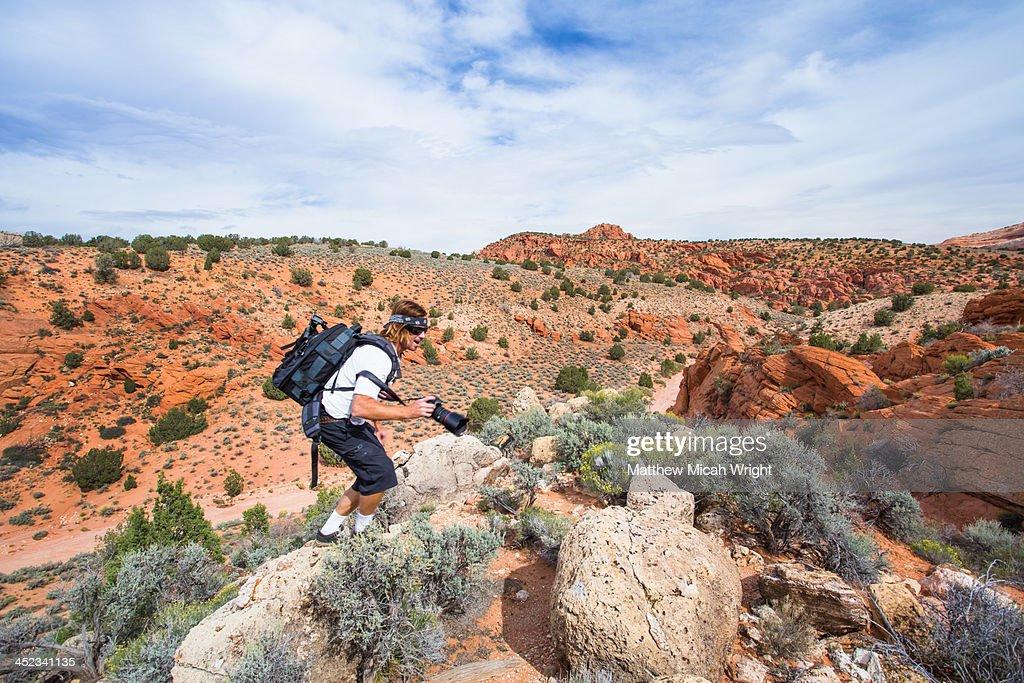 A hike through red rock desert