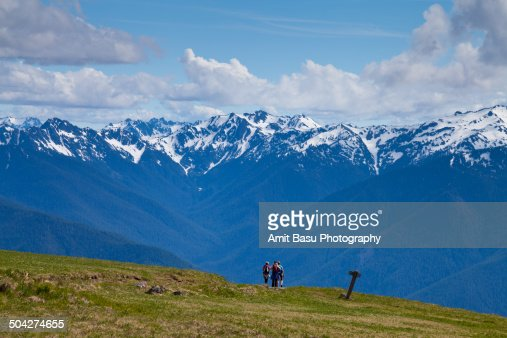 Hiker against Mount Olympus, Washington