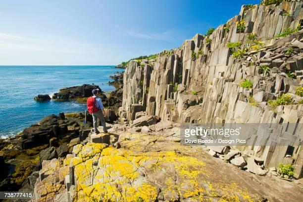 Hiker along basalt rock cliffs, Bay of Fundy
