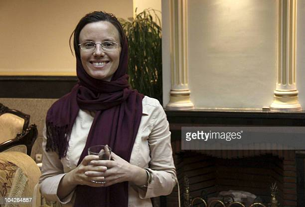 US hiker and accused spy Sarah Shourd who was released on bail from Iranian prison earlier in the day waits at Tehran's airport to depart to Oman on...