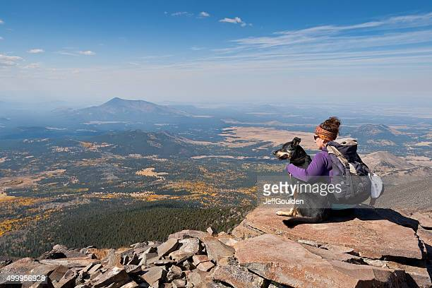 Hiker and Dog on Humphreys Peak