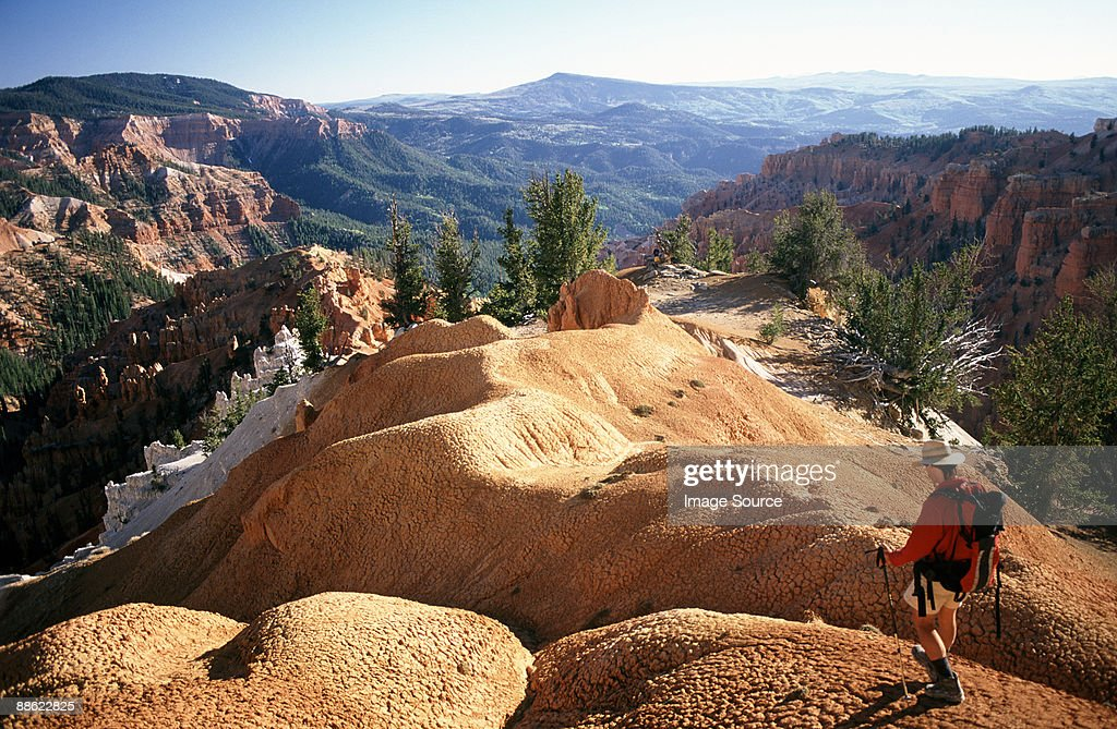 Hiker at cedar breaks national monument : Stock Photo