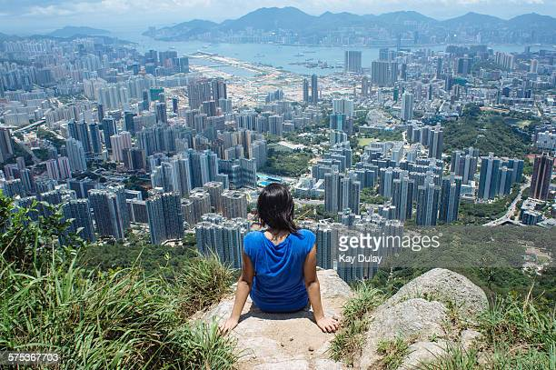 Hiker enjoying the view in Hong Kong