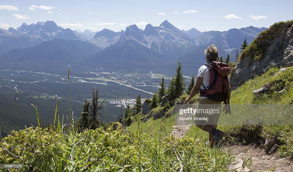 Hiker follows trail through mountain meadow : Stock Photo