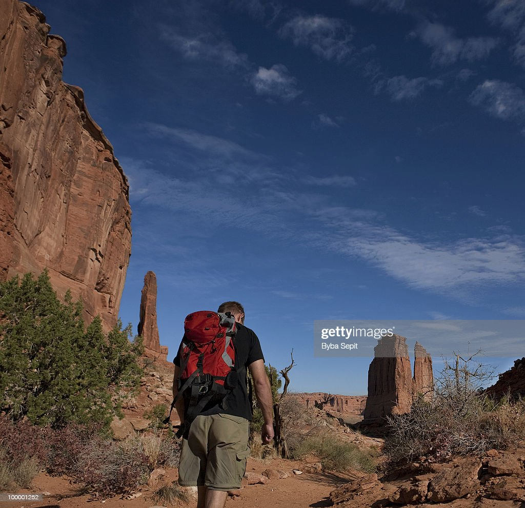 Hiker in a redrock country : Foto de stock