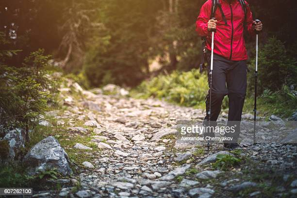 Hiker in red jacket walks alone on a mountain trail