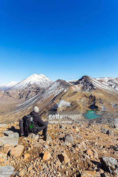 Hiker looking at volcanic landscape, New Zealand