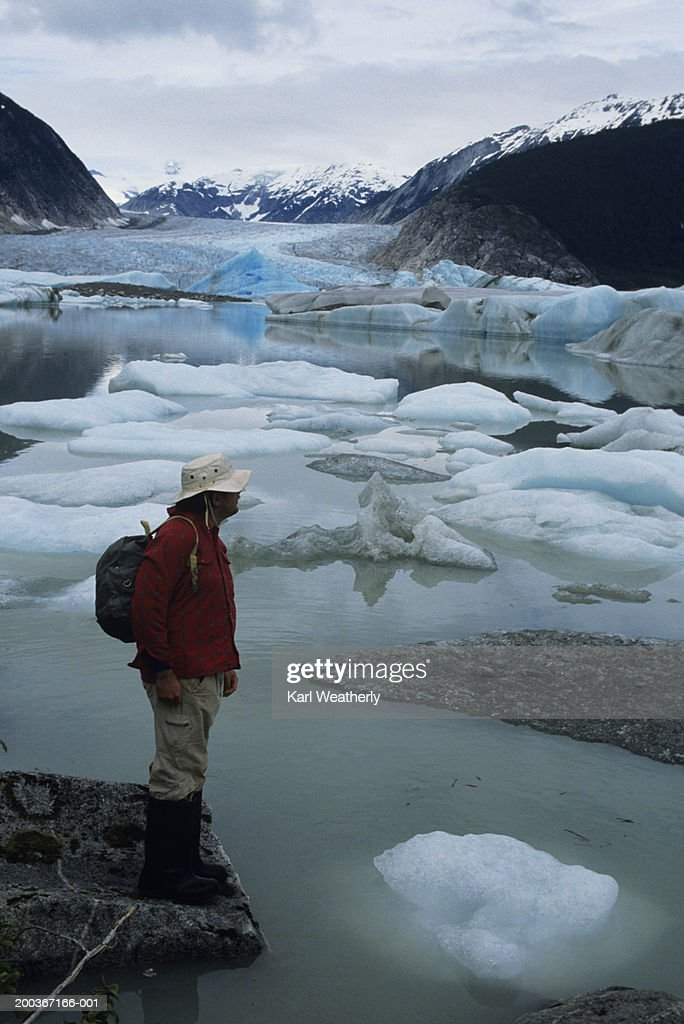 Hiker on glacier : Stock Photo
