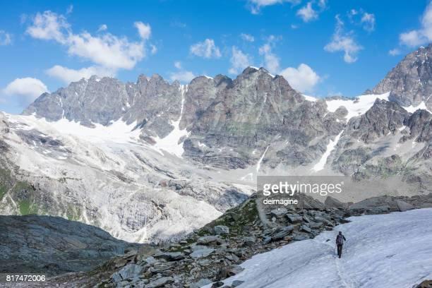 Hiker on glacier