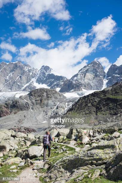 Hiker on mountain path
