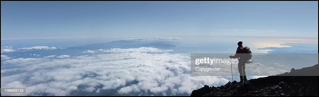 Hiker on Mt Fuji : Stock Photo