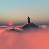 "Hiker on the mountain over the clouds. This is a 3d render illustration""n"