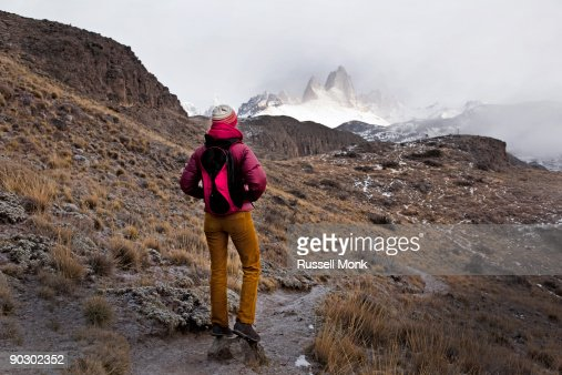 Hiker on trail in Patagonia
