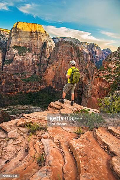 Hiker Overlooking Zion National Park