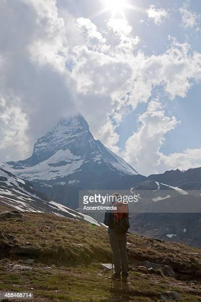 Hiker pauses below Matterhorn summit
