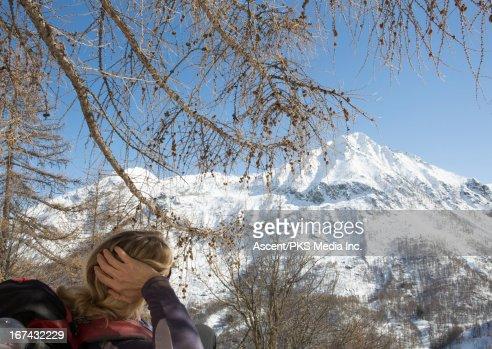 Hiker resting under tree : Foto de stock