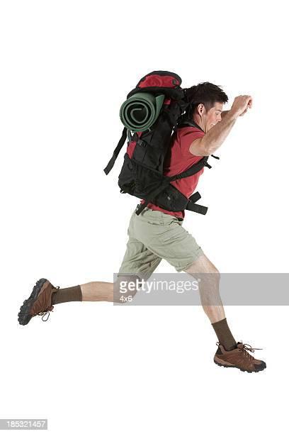 Hiker running