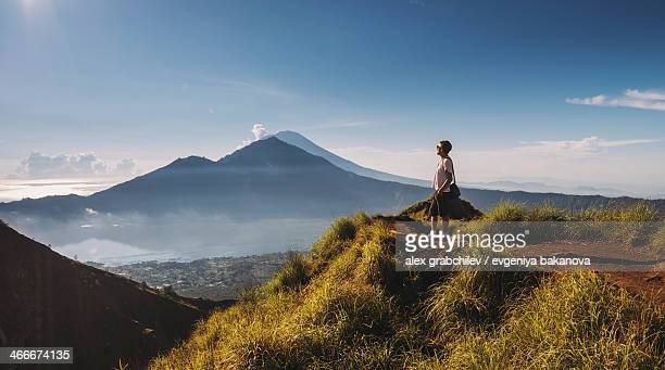 Hiker staying on top of  Mt.Batur, Indonesia