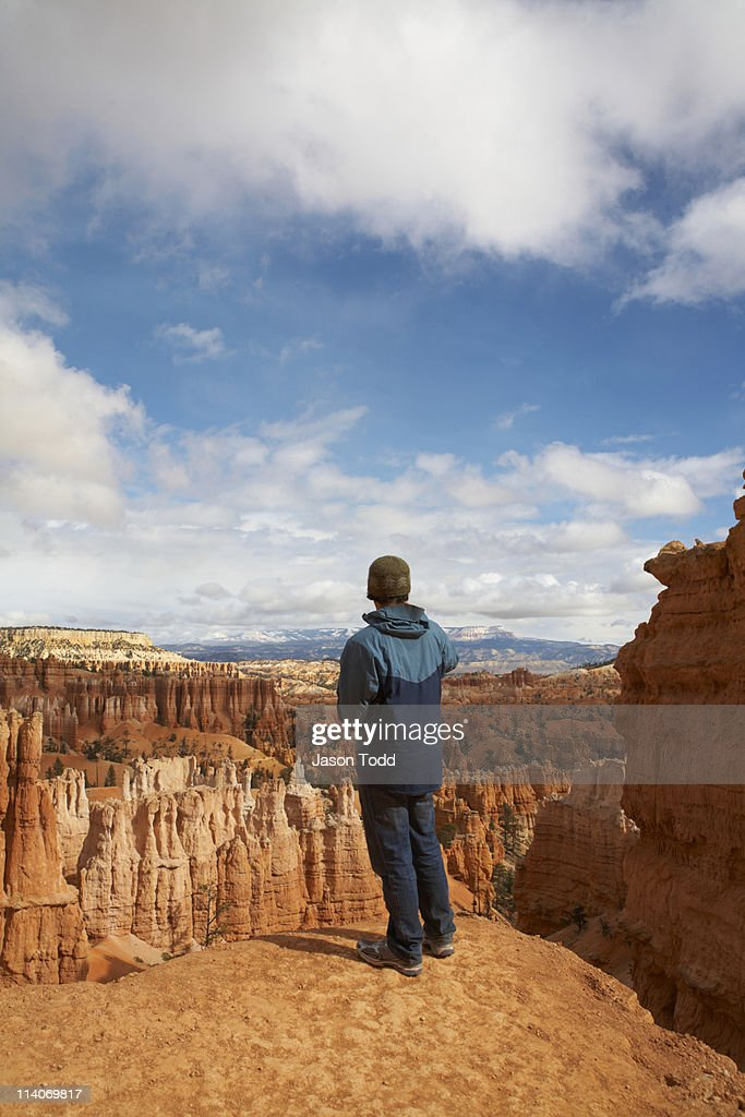 hiker taking pictures at Bryce Canyon : Stock Photo