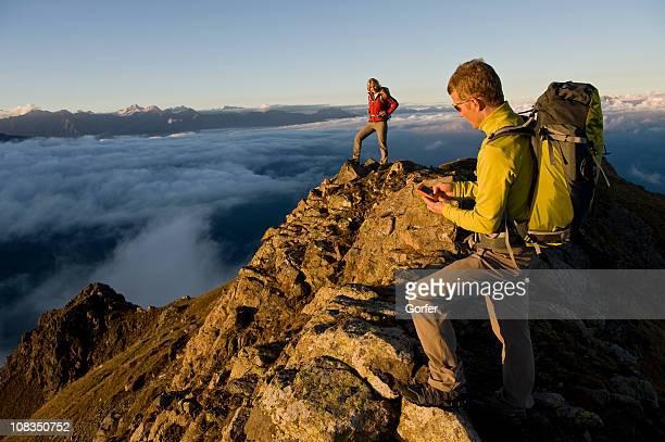Hiker using GPS