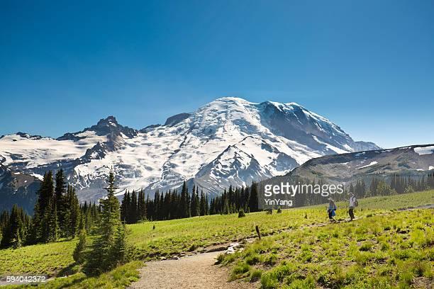 Hiker Walking the Trail of Mount Rainier National Park
