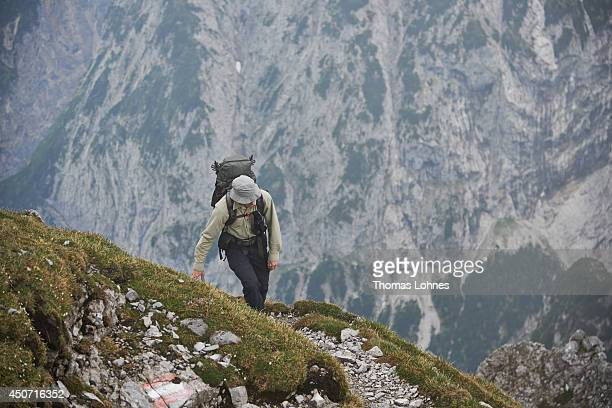 A hiker walks to the mountain 'Hochnissl' at the Karwendel region on June 13 2014 near Vomp Austria The Karwendel is the largest range of the...
