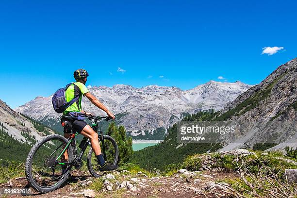 Hiker with mountain bike