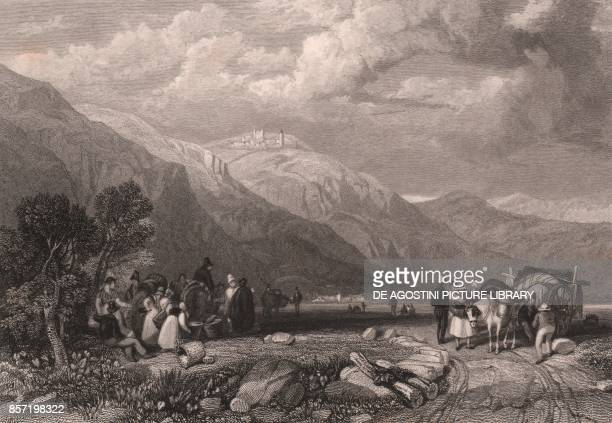 Hikers at the Magra river Sarzana Liguria Italy steel engraving from a drawing by James Duffield Harding ca 135x105 cm published by Jennings London