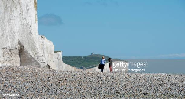 Hikers at the Seven Sisters Cliffs