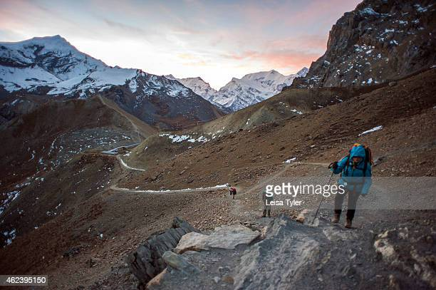 Hikers climbing to the Thorung Pass on the Annapurna Circuit It's considered one of the most diverse trekking trails in the world the Annapurna...