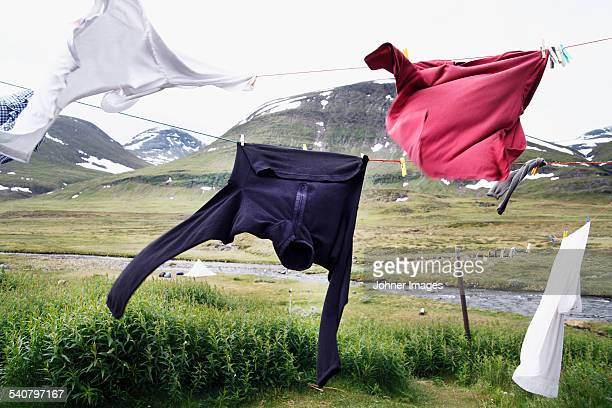 Hikers clothes drying on clothesline